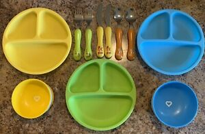WeeSprout Silicone Toddler Plate Kid Divided Compartment Munchkin Bowls Utensils