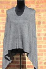 Pure Cashmere Poncho Wrap Shawl Scarf Sweater Cashmere One Size Charcoal Grey