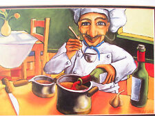 "WILL RAFUSE Framed Litho ""Jean Pierre"" Chef  Open Edition LISTED ARTIST ~26X14"