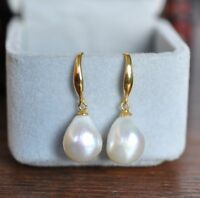GENUINE AAA 12-10mm South Sea White Baroque Pearl Earrings 14K YELLOW GOLD