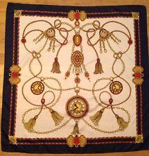 """Tie Rack Fiori Multicolor Gold Chain Medallion Clock Print Scarf 30.5"""" Square"""