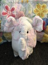 Handmade White Pink Florals Antique Chenille Bedspread Elephant