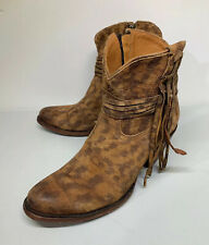 LUCCHESE Bootmaker Boot Size 10 B Women's Robyn Tan Suede Fringe Shortie  M6002