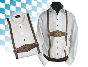 Trachtenhemd mit Trachtenträger Oktoberfest Hemd weiß  OS-TRACHTEN