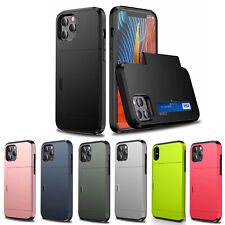 For iPhone 12 Pro Shockproof Hard Case Cover Wallet Credit Card Pocket Holder