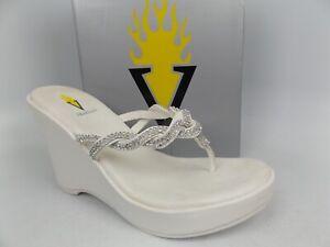 Womens Very Volatile Bridal White Wedge Heel Flip Flops Sandals SZ 10.0 M, 15871