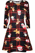 Kids Girls Christmas Xmas Round Neck Santa Father Costume CandyStick Swing Dress