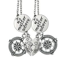 Mother Daughter No Matter Where Love Heart Compass 2 piece pendant necklace