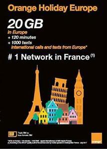 Orange Holiday Europe SIM Card 14 Days 20 GB Data + worldwide calls -UK seller