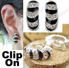 Clip en Zebra Huggie mitad Aros Cristal pendientes de diamantes de imitación de plata negro Pl Aro