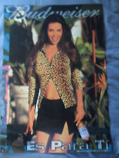 Sexy Girl Beer Poster Bud Budweiser ~ Hot Latina with Leopard Top