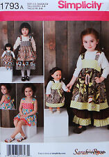 """Simplicity 1793 PATTERN for 18"""" American Girl Doll & Girl 3-8 Dress Pants Shorts"""