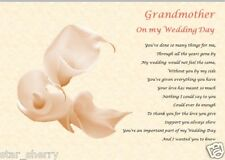 GRANDMOTHER ON MY WEDDING DAY (Laminated Gift)