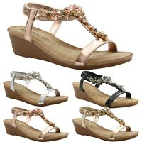 Ladies Summer Sandals Women Flat Diamante Shoes Platform Peep toe Mid Wedge Size