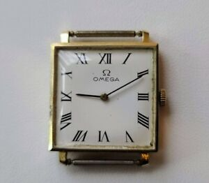 MENS OMEGA CAL 620 WRISTWATCH 17 JEWELS SQUARE CASE 14K YELLOW GOLD c1964