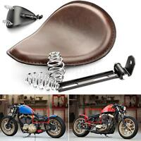 "Motorcycle SOLO Seat Brown + 3"" Springs Bracket For Harley Chopper Bobber Custom"