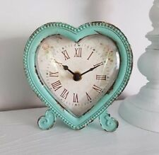 Sass Belle Boudoir Heart Table Desk Clock Duck Egg Mantle Shabby Home Gift