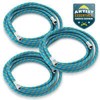 "3pc 6' Braided Airbrush Air Hose 1/8"" to 1/8"" BSP Adaptor Fits Most Brands"