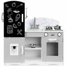 Wooden Pretend Play Kitchen Toy Set for Kids w/ Chalkboard, Marble Backdrop, 7 A