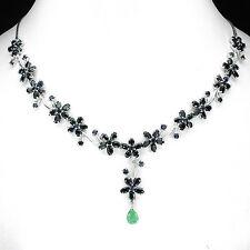 Collier Saphir Smaragd 925 Silber 585 Weißgold