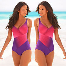 Frauen Monokini Einteiliger Push-Up gepolstert Bandage Bikini Badeanzug Bademod