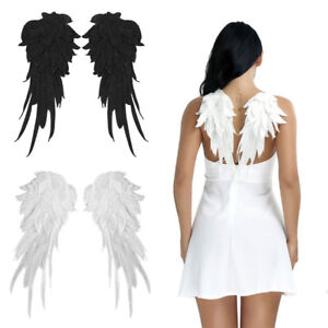 Embroidered Fabric Angel Wings Christmas Halloween Fancy Dress Costume Night S/L
