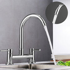 Modern Kitchen Sink Mixer Taps Swivel Spout Dual Lever Tap Mono Faucet Waterfall