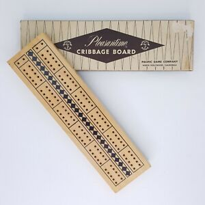 Pleasantime Cribbage Board 705 Wooden 2 Tracks With Pegs 10 Inch Pacific Game Co