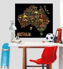 3D Australia Kangaroo 65RAI World Map Wall Stickers Vinyl Wallpaper Murals Honey