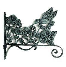 Hummingbird Plant Hanger Pot Hook Cast Iron Distressed Green 10x12� Garden New