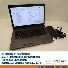 HP ZBOOK 17 CORE I7-4930MX 3.0GHz 32GB 256 SSD + 500 GB HDD NVIDIA Quadro K5100M