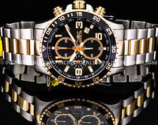 Invicta Men SPECIALTY CHRONOGRAPH Black Dial 18Kt Gold Silver TACHYMETER Watch