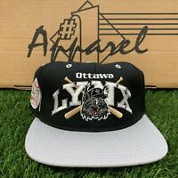 DS Vintage Ottawa Lynx MLB Baseball Minors #1 Apparel Wool Fitted Hat Black Sz 7