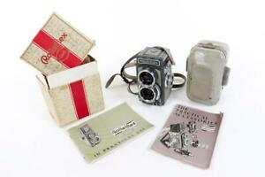 """Vintage ~ """"Rolleiflex"""" """"4x4"""" """"Baby Grey"""" Camera with Box & Instructions    #2657"""