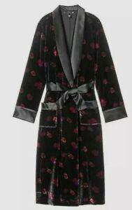 Victoria Secret Floral Velvet Black Satin Lined Robe Small *NWT*