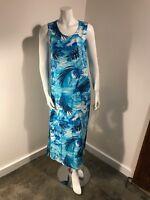Peppermint Bay Blue (N) Palms Palm Trees Beach Ocean Maxi Long Dress - SZ Small