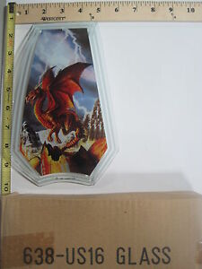 FREE US SHIP OK Touch Lamp Replacement Glass Panel Flying Red Dragon 638-US16