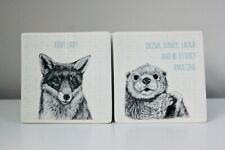 Fab Porcelain Animal Coasters FOX or OTTER by East of India - Stocking Filler!