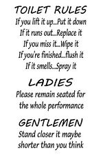 Toilet Rules (Wall Art Transfer - Wall Decal)