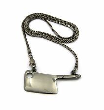 Hatchet Meat Cleaver Knife Chef Chopped Pendant Charm Box Chain Necklace Hiphop