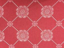 High tea Lace Red and White 100% Cotton fabric by the half metre