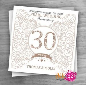 Personalised Unique Handmade Milestone 30th Pearl Wedding Anniversary card