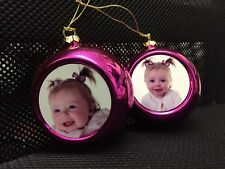 Large personalised Christmas tree pink hanging bauble your photo printed gift