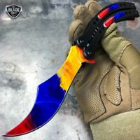 """9.5"""" Tactical CSGO Spring Assisted Folding Open Blade Pocket Knife - Marble Fade"""
