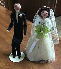 Vintage 1940s Novelty Crepe Wedding Bride Groom Figures + Crepe Corsage Wow!!