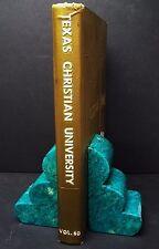 Vintage Estate Aqua Blue Hand Carved Italy Alabaster Book Ends Bookends