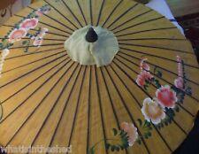 Vintage Antique Japanese Paper Umbrella Parasol - Flowers Made In Japan