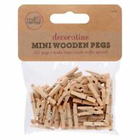 50 Mini Wooden Pegs 25mm Tiny Small Craft Wedding Hanging Photo Small Clips Wood