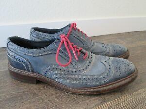 Allen Edmonds NEUMOK Wingtip Oxford Shoes Blue Leather Mens 7.5 D