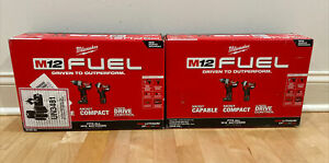 Two Milwaukee 2598-22 M12 FUEL 12V 2-Tool Hammer Drill and Impact Driver Kits